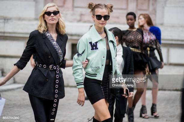 Models Elsa Hosk and Josephine Skriver seen outside Balmain during Paris Fashion Week Spring/Summer 2018 on September 28 2017 in Paris France