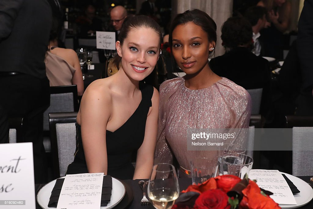 Models Emily DiDonato and Jasmine Tookes attend the Montblanc 110 Year Anniversary Gala Dinner on April 5, 2016 in New York City.