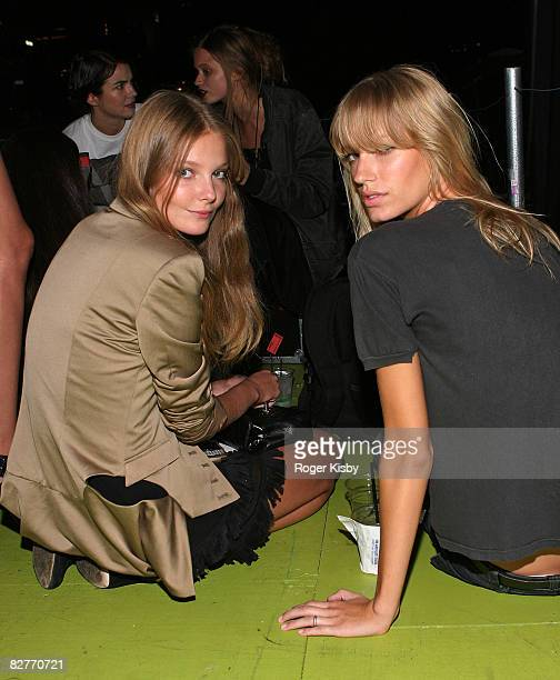 Models Eniko Mihalik and Amy Hixson attend the V Magazine celebration at the MINI Rooftop NYC on September 10 2008 in New York City