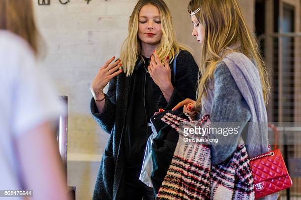 Models Eniko Mihalik and Caroline Brasch Nielsen seen backstage ahead of the By Malene Birger show during the Copenhagen Fashion Week Autumn/Winter...