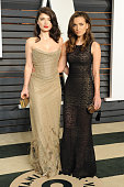 Models Eve Hewson and Jordan Hewson attend the 2015 Vanity Fair Oscar Party hosted by Graydon Carter at Wallis Annenberg Center for the Performing...