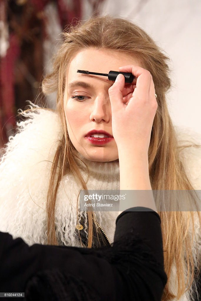 A models eyebrows are prepared for the runway with hair by TRESemme at the Rachel Zoe A/W16 Presentation during New York Fashion Week: The Shows at The Space, Skylight at Clarkson Sq on February 14, 2016 in New York City.