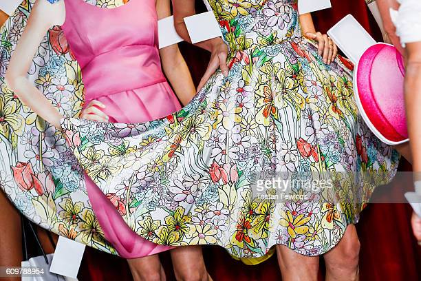 Models fashion detail seen backstage ahead of the Moschino show during Milan Fashion Week Spring/Summer 2017 on September 22 2016 in Milan Italy