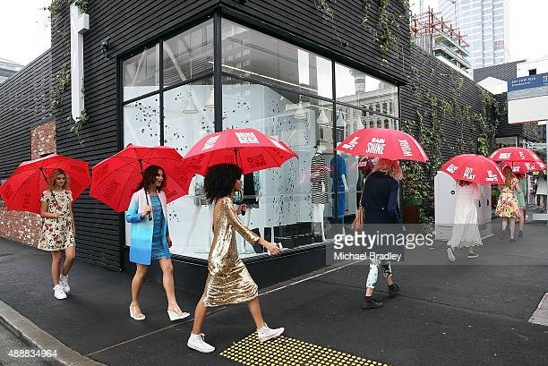 Models for Trelise Cooper make their way to Ortolana Restaurant during the Britomart 'A Taste of Fashion' Progressive Lunch at the Britomart Precinct...