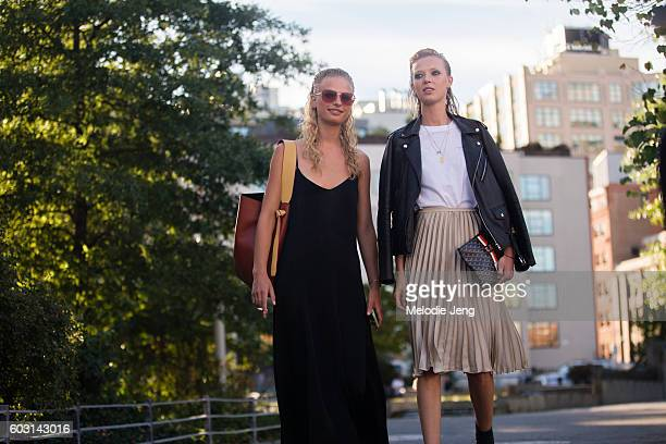 Models Frederikke Sofie Ulrikke Hoyer outside the Altuzarra show at Spring Studios on September 11 2016 in New York City Frederikke carries a Celine...