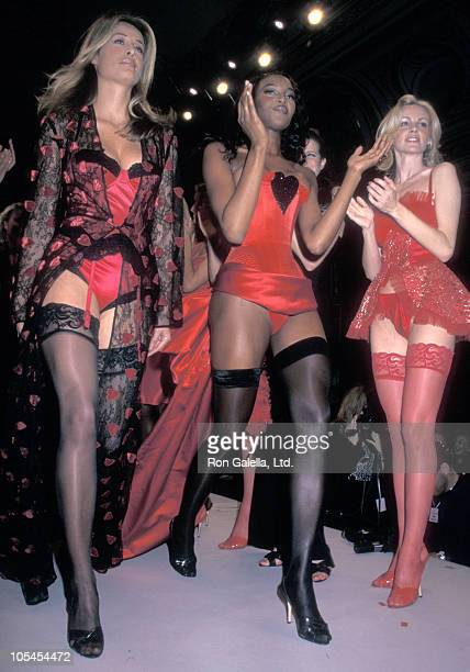 Models Frederique van der Wal and Naomi Campbell attend the 'Victoria's Secret Spring 1997 Lingerie Collection Runway Show' on February 4 1998 at...