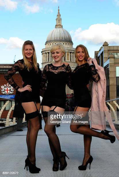 Models from Charnos Hosiery by St Pauls Cathedral in London to promote National Stockings Day