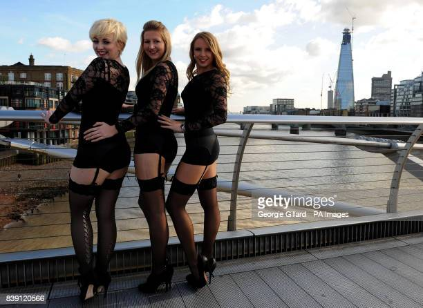 Models from Charnos Hosiery by The Shard in London to promote National Stockings Day