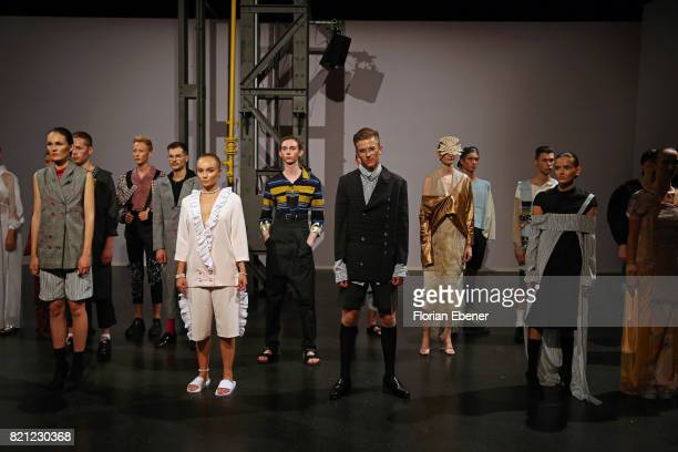Models from the graduate shows are seen on the runway after the AMD Exit17_2 show during Platform Fashion July 2017 at Areal Boehler on July 23 2017...