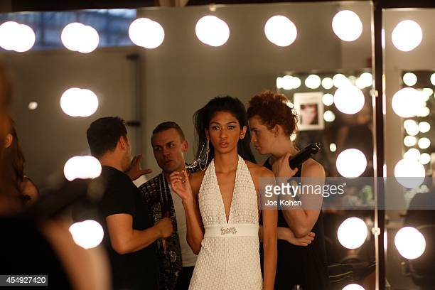 Models getting ready backstage during Fashion Palette Australia at Pier 59 on September 7 2014 in New York City