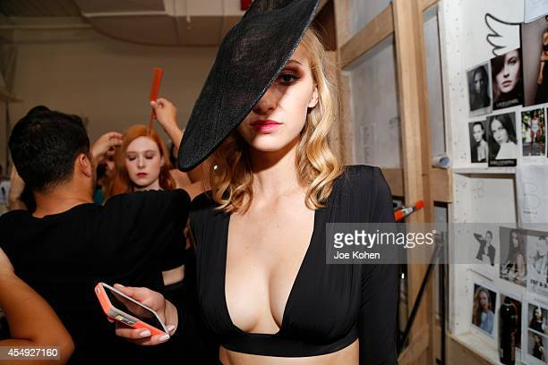 Models getting ready backstage during Fashion Palette Australia ready to wear spring 2015 at Pier 59 on September 7 2014 in New York City
