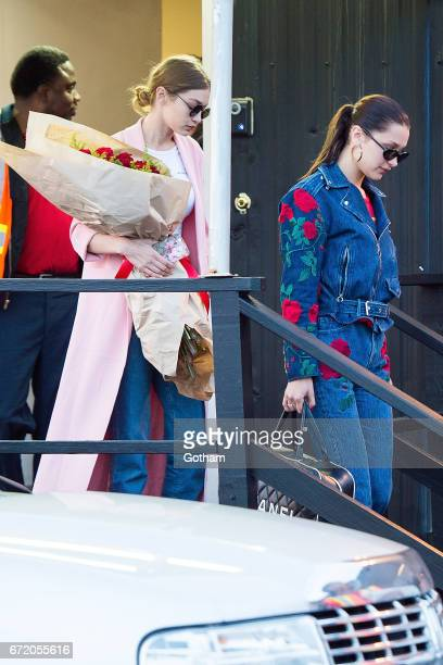 Models Gigi Hadid and Bella Hadid are seen in Midtown on April 23 2017 in New York City