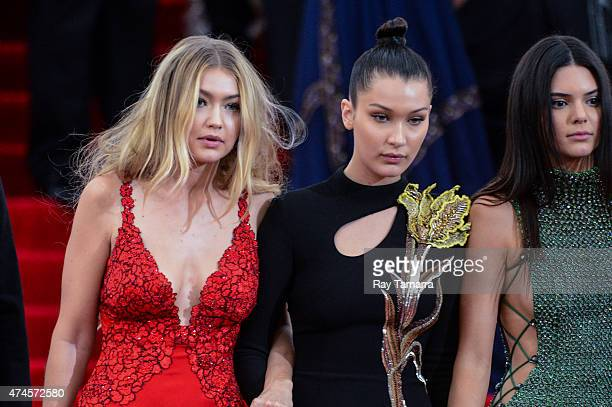 Models Gigi Hadid Bella Hadid and Kendall Jenner leave the Metropolitan Museum of Art on May 4 2015 in New York City