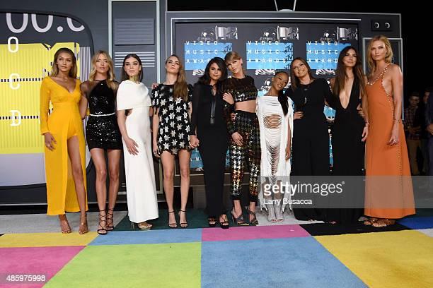 Models Gigi Hadid Martha Hunt actresses Hailee Steinfeld Cara Delevingne actress/singer Selena Gomez recording artist Taylor Swift actresses Serayah...