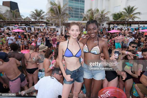 Models Grace Elizabeth and Zuri Tibby attend Victoria's Secret PINK Nation Hosts Spring Break Bash on March 14 2017 in Cancun Mexico