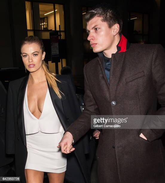 Models Hailey Clauson and Julian Herrera are seen arriving at Sports Illustrated Swimsuit 2017 Launch Event at Center415 Event Space on February 16...