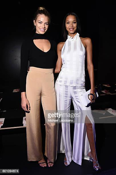 Models Hailey Clauson and Lais Ribeiro attend the Cushnie Et Ochs fashion show during New York Fashion Week The Shows at The Dock Skylight at...