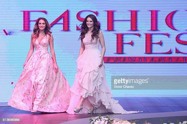 Models Hannah Davis and Emily DiDonato walk the runway during the Liverpool Fashion Fest Spring/Summer 2016 at Televisa San Angel on March 3 2016 in...