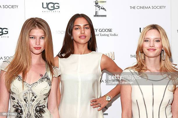 Models Heide Lindgren Irina Shayk and Julie Ordon attend the Cinema Society with UGG Suffolk County Film Commission host a screening of 'Paper Man'...