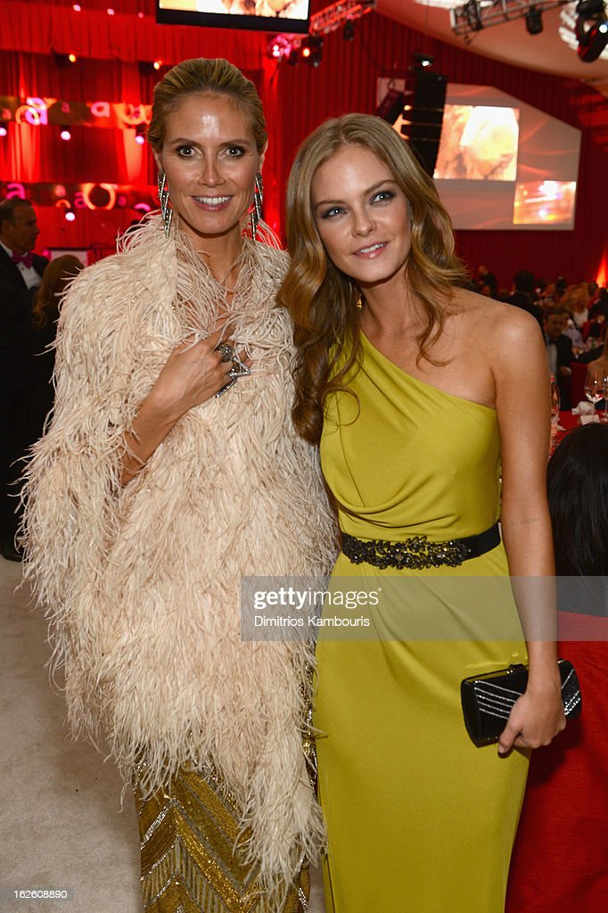 Models Heidi Klum and Jessica Perez attend the 21st Annual Elton John AIDS Foundation Academy Awards Viewing Party at West Hollywood Park on February 24, 2013 in West Hollywood, California.