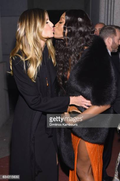 Models Heidi Klum and Naomi Campbell attend the 19th Annual amfAR New York Gala at Cipriani Wall Street on February 8 2017 in New York City