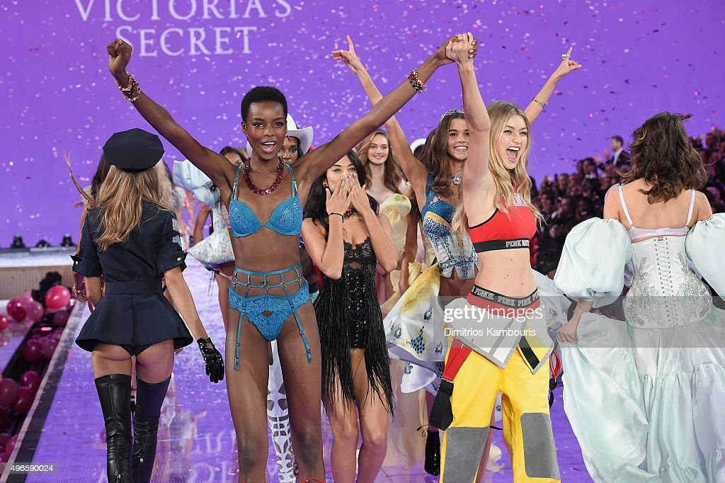 Models including Maria Borges from Angola, Shanina Shaik from Australia, and Gigi Hadid from California walk the runway during the 2015 Victoria's Secret Fashion Show at Lexington Avenue Armory on November 10, 2015 in New York City.