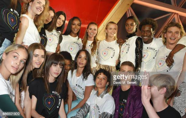Models including Natalia Vodianova Bella Hadid Kendall Jenner Naomi Campbell Heidi Klum Natasha Poly and Jordan Barrett attend the Fashion for Relief...