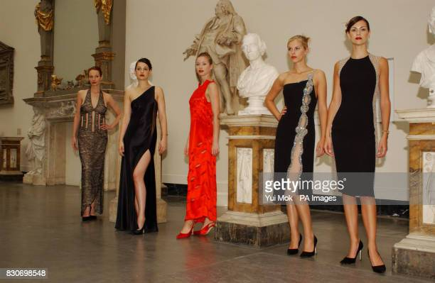 Models including Petrina Khashoggi during a Catherine Walker fashion show as part of the 'Fashion in Motion' event at the VA Museum in London