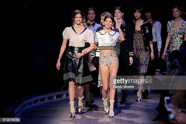 Models including Taylor Hill walk the runway during the Tommy Hilfiger Women's runway show during Fall 2016 New York Fashion Week at Park Avenue...