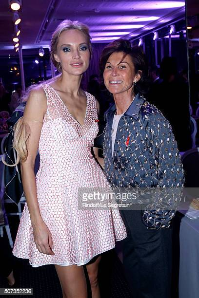 Models Inna Zobova and Sylvie Rousseau attend the Sidaction Gala Dinner 2016 as part of Paris Fashion Week Held at Pavillon d'Armenonville on January...