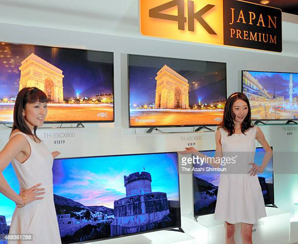 Models introduce Panasonic's new 4K televisions on April 2 2015 in Osaka Japan