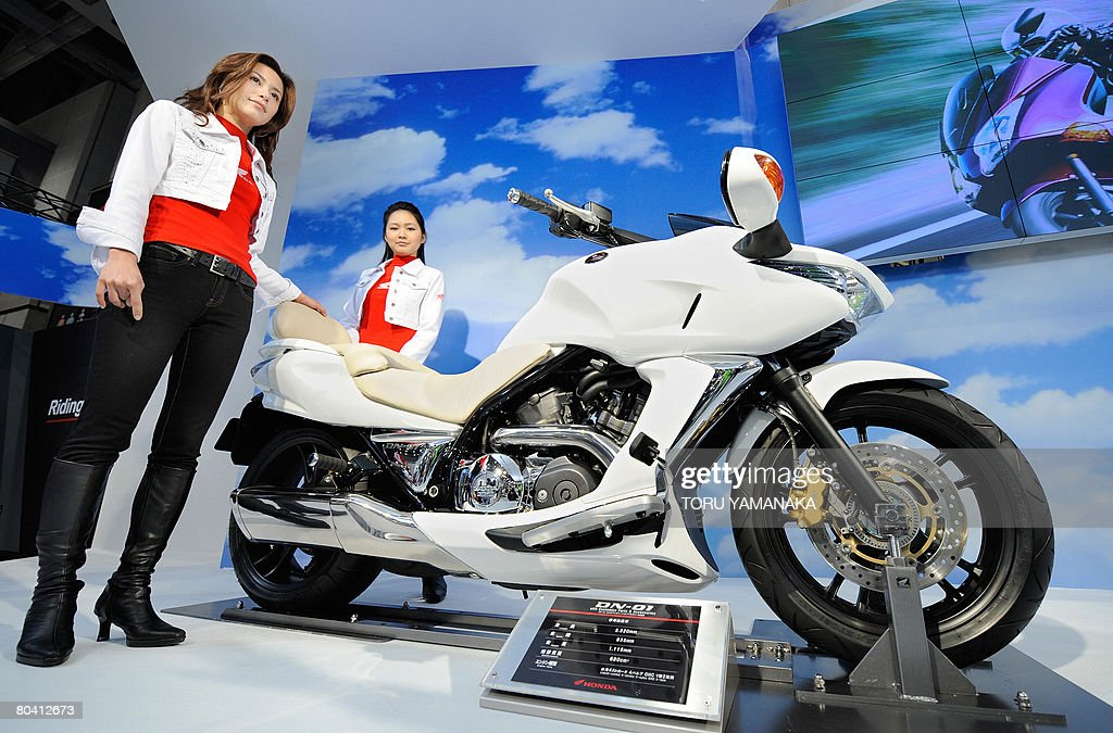 models introduce the new 680cc honda mot pictures | getty images