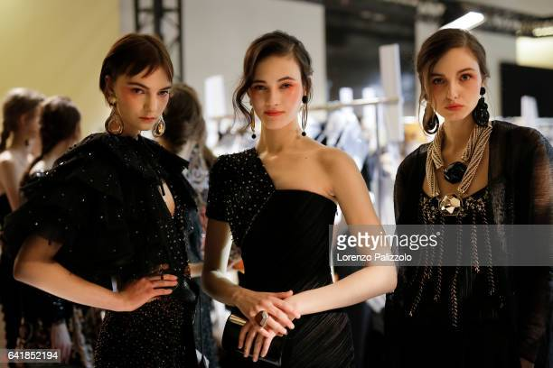 Models Irina Liss Greta Varlese and Natalie Salamunec pose Backstage prior the Giorgio Prive Armani Spring Summer 2017 show as part of Paris Fashion...