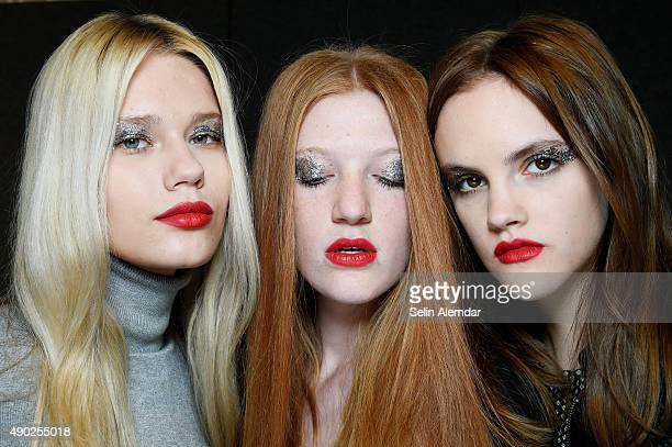Models is seen backstage ahead of the John Richmond show during Milan Fashion Week Spring/Summer 2016 on September 27 2015 in Milan Italy