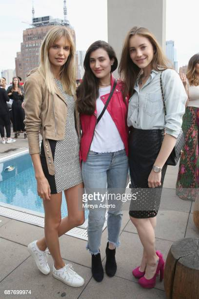 Models Isabella Oberg Flavia Zaguini and Vanessa Cruz attend the Wilhelmina Summer KickOff party at Jimmy at The James Hotel on May 23 2017 in New...
