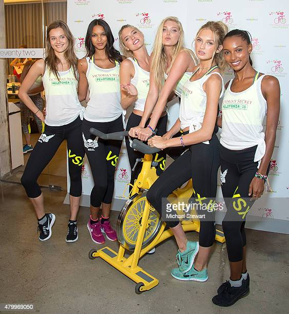 Models Jac Jagaciak Lais Ribeiro Martha Hunt Elsa Hosk Romee Strijd and Jasmine Tookes attend Victoria's Secret Supermodel Cycle at SoulCycle West...