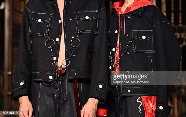 Models jacket detail walks the runway at the Angel Chen show at Fashion Scout during London Fashion Week Spring/Summer collections 2017 on September...