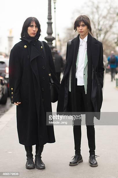Models Jamie Bochert and Mica Arganaraz exit Chanel on Day 3 of Paris Haute Couture Fashion Week Spring/Summer 2015 on January 27 2015 in Paris France
