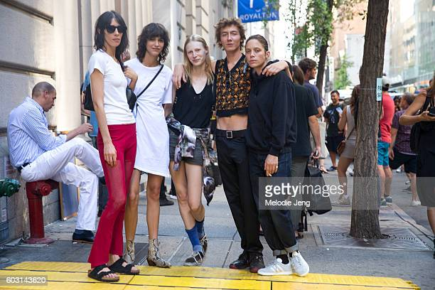 Models Jamie Bochert Mica Arganaraz Julia Nobis Paul Hameline Clara Deshayes outside the Sies Marjan show at the New York State Bar Association on...