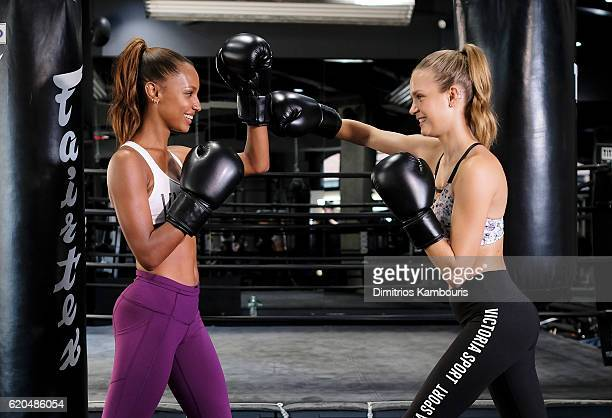 Models Jasmine Tookes and Josephine Skriver participate in the Victoria's Secret Train Like an Angel event on November 2 2016 in New York City