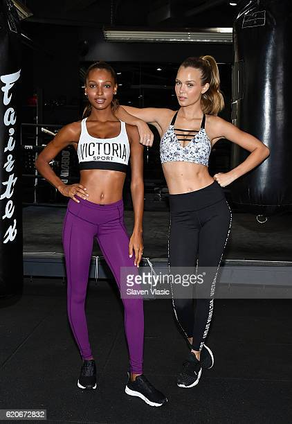 Models Jasmine Tookes and Josephine Skriver participate in the Victoria's Secret 'Train Like an Angel' event at The Dogpound on November 2 2016 in...
