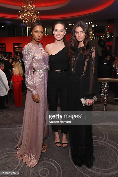 Models Jasmine Tookes Emily DiDonato and Sara Sampaio attend the Montblanc 110 Year Anniversary Gala Dinner on April 5 2016 in New York City
