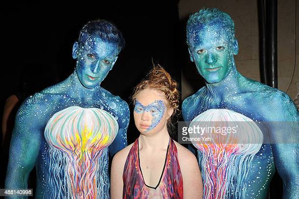 Models Jesse Pattison Madeline Stuart and Ben Pulchinski are seen backstage of Hendrik Vermeulen show during Spring 2016 New York Fashion Week at...