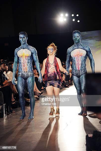 Models Jesse Pattison Madeline Stuart and Ben Pulchinski walk the runway at Hendrik Vermeulen show during Spring 2016 during New York Fashion Week at...