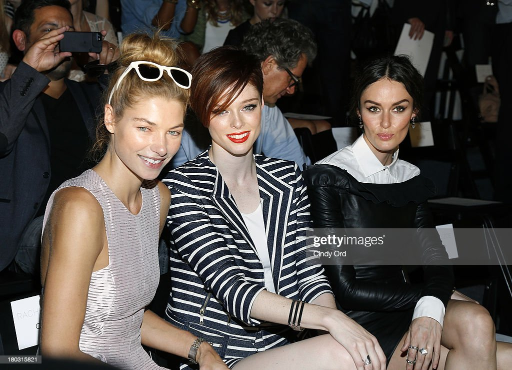 Models Jessica Hart, Coco Rocha and Nicole Trunfio attend the Rachel Zoe fashion show during Mercedes-Benz Fashion Week Spring 2014 at The Studio at Lincoln Center on September 11, 2013 in New York City.