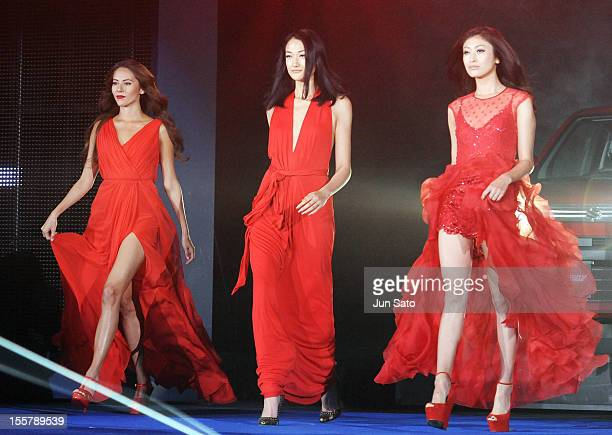 Models Jessica Michibata Ai Tominaga and Yu Yamada walks runway during Girls Award 2012 A/W collection at the National Yoyogi Gymnasium on November 8...