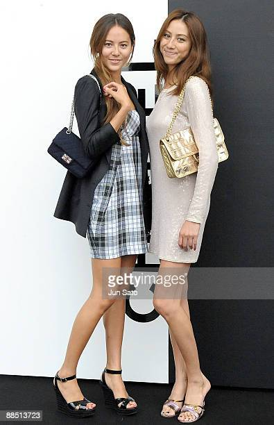 Models Jessica Michibata and Karen Michibata attend Chanel PretaPorter AutomneHiver 2009/10 at Yoyogi national Gymnasium on June 16 2009 in Tokyo...