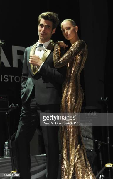 Models Jon Kortajarena and Karolina Kurkova attend amfAR's 20th Annual Cinema Against AIDS during The 66th Annual Cannes Film Festival at Hotel du...