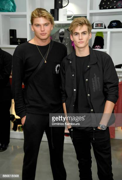 Models Jordan Barrett and Presley Gerber attend the opening of the new Chrome Hearts Gallery Cafe to celebrate their 3Year Anniversary in the Miami...