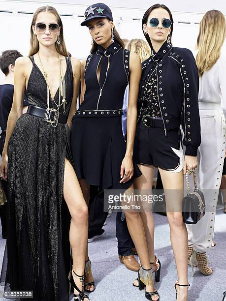 Models Josephine Le Tutor Cindy Bruna and Wales Gorczevski poses prior the Elie Saab show as part of the Paris Fashion Week Womenswear Spring/Summer...
